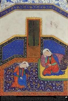 """اسلامی فن - ایران کے پرانے مشہور شاعر فردوسی کی کتاب """"شاہنامہ"""" سے ایک مینیاتور پینٹنگ (تصویرچہ) - ۲۴۰"""