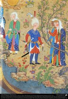 """اسلامی فن - ایران کے پرانے مشہور شاعر فردوسی کی کتاب """"شاہنامہ"""" سے ایک مینیاتور پینٹنگ (تصویرچہ) - ۲۴۲"""