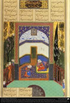 """اسلامی فن - ایران کے پرانے مشہور شاعر فردوسی کی کتاب """"شاہنامہ"""" سے ایک مینیاتور پینٹنگ (تصویرچہ) - ۲۰"""