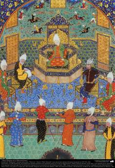 """اسلامی فن - ایران کے پرانے مشہور شاعر فردوسی کی کتاب """"شاہنامہ"""" سے ایک مینیاتور پینٹنگ (تصویرچہ) - ۲۸"""