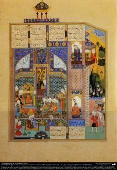 Art islamique, chef-d'oeuvre de miniature persane, tiré de Shahnameh, l'oeuvre du grand poète iranien Ferdowsi, Ed. Shah Tahmasbi.  - 42