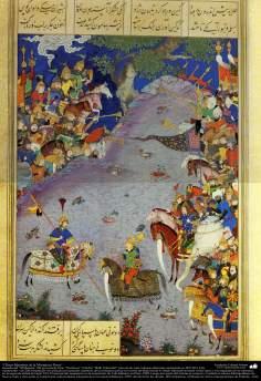 """اسلامی فن - ایران کے پرانے مشہور شاعر فردوسی کی کتاب """"شاہنامہ"""" سے ایک مینیاتور پینٹنگ (تصویرچہ) - ۳۵"""
