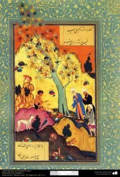 """اسلامی فن - ایک مینیاتور پینٹنگ """"مجنون کا عشق لیلی سے"""" - ایران - ۱۲"""