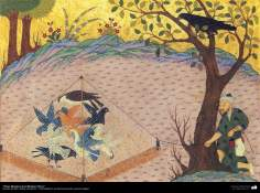 """اسلامی فن - """"کلیلہ و دمنہ"""" نام کی کہانی کتاب سے ایک تصوریچہ پینٹنگ - ۲"""