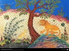 Obras-primas da miniatura Persa - extraída do livro Kelile va Demne o Panchatantra - Em idioma sânscrito e persa antigo - 3