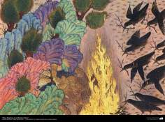 """اسلامی فن - """"کلیلہ و دمنہ"""" نام کی پرانی کہانی کی کتاب سے ایک مینیاتور پینٹنگ (تصویرچہ) - ۴"""