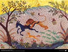 """اسلامی فن - """"کلیلہ و دمنہ"""" نام کی کہانی کتاب سے ایک تصوریچہ پینٹنگ - ۵"""