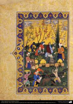 "Arte islamica-Capolavoro di miniatura persiana-Libro di ""Khamse"" o ""Panj-Ganj"",poeta ""Nezami Gangiavi""(1141-1209)-3"