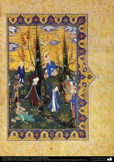 "Arte islamica-Capolavoro di miniatura persiana-Libro di ""Khamse"" o ""Panj-Ganj"",poeta ""Nezami Gangiavi""(1141-1209)-4"