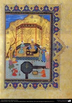 "Arte islamica-Capolavoro di miniatura persiana-Libro di ""Khamse"" o ""Panj-Ganj"",poeta ""Nezami Gangiavi""(1141-1209)-13"