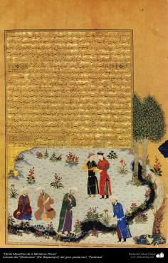 Architecture islamique, chef-d'oeuvre d'une miniature persane, prises de Shahnameh, par Ferdowsi- 26