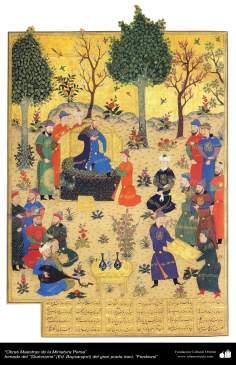 Art islamique, chef-d'oeuvre de miniature persane, prises de Shahnameh, par Ferdowsi - 29