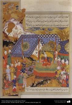"""اسلامی فن - ایرانی مینیاتور پینٹنگ - """"ظفرنامہ تیموری"""" کتاب سے ایک تصویر - ۱۱"""