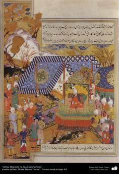 """اسلامی فن - """"ظفرنامہ تیموری"""" نام کی کتاب سے ایک مینیاتور پینٹنگ (تصویرچہ) - ۷"""