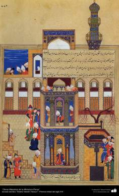 """اسلامی فن - """"ظفرنامہ تیموری"""" نام کی کتاب سے ایک مینیاتور پینٹنگ (تصویرچہ) - ۸"""