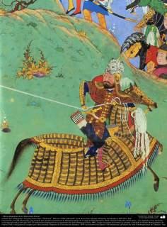 Art islamique, chef-d'oeuvre miniature persane, tirée de Shahnameh, l'oeuvre du grand poète iranien Ferdowsi, Ed. Tahmasbi - 38