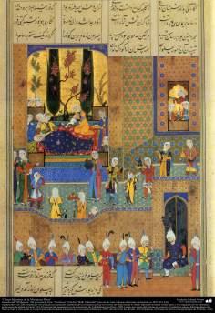 """اسلامی فن - ایران کے پرانے مشہور شاعر فردوسی کی کتاب """"شاہنامہ"""" سے ایک مینیاتور پینٹنگ (تصویرچہ) - ۳۷"""