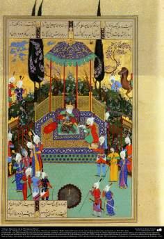 Architecture islamique, chef-d'oeuvre de miniature persane, tirée de Shahnameh, l'oeuvre du grand poète iranien Ferdowsi, Ed. Shah Tahmasbi.
