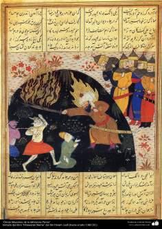 """اسلامی فن - """"خاوران نامہ"""" نام کی کتاب سے ایک مینیاتور پینٹنگ (تصویرچہ) - ۴"""