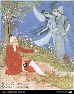 """Sa'di"" - Obras maestras de la Miniatura persa- Artista: Ostad Hosein Behzad en 1958"