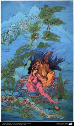 """Arte islamica-Capolavoro di miniatura persiana-Opera di maestro M. A. Zawieh -1973,""""Carovana dell'età"""""""