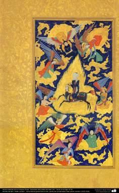 """اسلامی فن - ایرانی مینیاتور پینٹنگ (تصویرچہ) """"نبی(ص) کا معراج""""، سولہویں صدی عیسوی"""