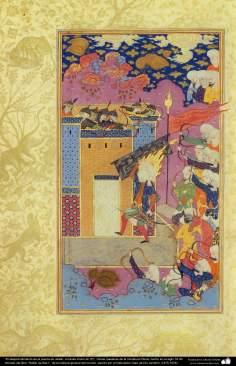 """اسلامی فن - ایرانی مینیاتور پینٹنگ (تصویرچہ) """"خیبر کا دروازہ حضرت علی(ع) کے ہاتھ پر"""" - ۲"""