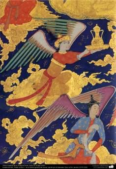"""اسلامی فن - """"حبیب السیر"""" نام کی تاریخی اور فارسی کتاب سے ایک مینیاتور پینٹنگ (تصویرچہ) ، سولہویں صدی عیسوی - ۶"""