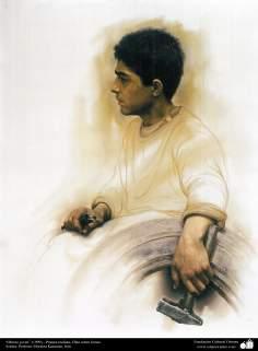 """Arte islamica-Pittura-Olio su tela-Opera di maestro Morteza Katusian-""""Giovane operaio""""-1999"""