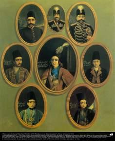 """""""Ocho retrato de Nasered-Din Sha y Mozaffar ed-Din Sha Qayar en sus diferentes edades"""" ; Pintura de Kamal ol-Molk"""