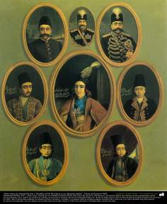 """Oito retratos de Nasered-Din Sha e Mozaffar ed-Din Sha Qayar, em diferentes idades"" ; Pintura de Kamal ol-Molk"