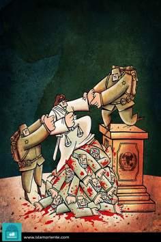 Caricatura - Palestina, Israel, ONU e a justiça