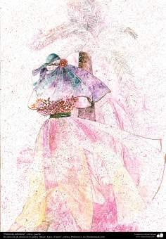 """«Sagesse Palma"""" - l'encre et à la gouache, la galerie «Les femmes, l'eau et Mirror""""; Artiste: Professeur F. Gol Mohammadi,"""
