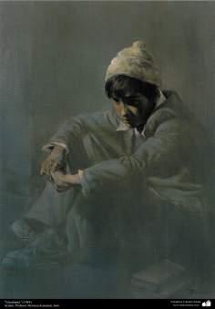 """Arte islamica-Pittura-Olio su tela-Opera di maestro Morteza Katusian-""""Lo studente""""-1984"""