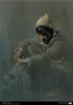 "Pintura ""Estudiante"" (1984); Artista: Profesor Morteza Katuzian"