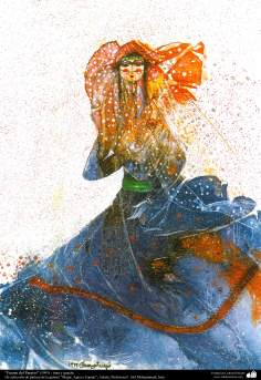 "Painting ""Fountain of Paradise"" (1993) - Selection of painting gallery ""Women, Water and Mirror""; Artist: Professor F. Gol Mohammadi"