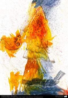 """Pintura """"Inspirar el espíritu"""" - tinta y guache, De selección de pintura de la galería """"Mujer, Agua y Espejo""""; Artista: Profesora F. Gol Mohammadi"""