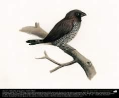 "Pintura: ""Un ave"" - Óleo sobre lienzo; artista: Kamal ol-Molk (66)"