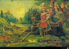 Pintura tradicional, fresco y mural de inspiración popular persa, estilo Cafetería - 34