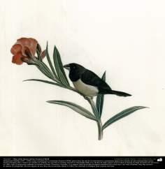 """اسلامی فن - استاد کمال الملک کی پینٹنگ """"پھول پر پرندہ"""" ، ایران - سن ۱۹۰۲ء - ۶"""