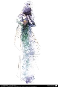 """الفن الإسلامي - لوحة - بالحبر والغواش - اختیار اللوحة من معرض """"المرأة والمياه والمرايا"""" - أثر استاذ گل محمدی - """"إن مقر الأرض"""" (1997)"""