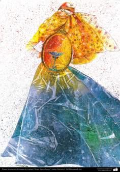 """Art Islamique - Peinture - Encre et gouache -  de la galerie """"Les femmes, l'eau et des miroirs"""" - artiste:Gol Mohammadi"""
