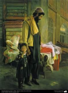 "Malerei ""Mann aus Baluch im Bazaar"" (1996) - Öl auf Leinwand Künstler: Professor Murteza Katuzian, Iran - Islamische Kunst"