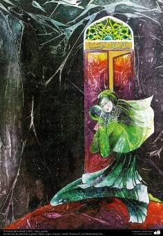 """Pintura """"Frescura de la tierra"""" (1995) - de la galería """"Mujer, Agua y Espejo""""; Artista: Profesora F. Gol Mohammadi, Irán"""