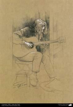 "Painting ""Guitarist"" (2002) - Artist : Professor Morteza Katouzian"