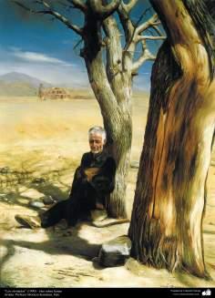 """هنراسلامی - نقاشی - رنگ روغن روی بوم - اثر استاد مرتضی کاتوزیان - """"فراموش کرده ام"""" - (1990)"""