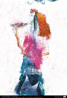 """Arte islamica-Pittura-Inchiostro e guazzo-Scelta dalla galleria di """"Donne,acqua e specchio""""-Artista:Maestro Gol Mohammadi-Nome dell'opera:""""Un sorso della fontana di Kosar"""""""