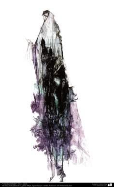 """Art Islamique - Peinture - Encre et gouache -  de la galerie """"Les femmes, l'eau et des miroirs"""" - artiste:Gol Mohammadi :Femme de Téhéran"""