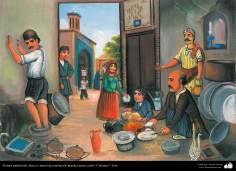 Pintura Tradicional - Afresco em mural, de inspiração popular persa, estilo cafeteria - 21