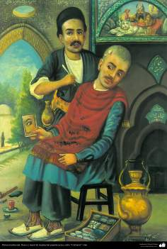 Pintura Tradicional - Afresco em mural, de inspiração popular persa, estilo cafeteria - 14